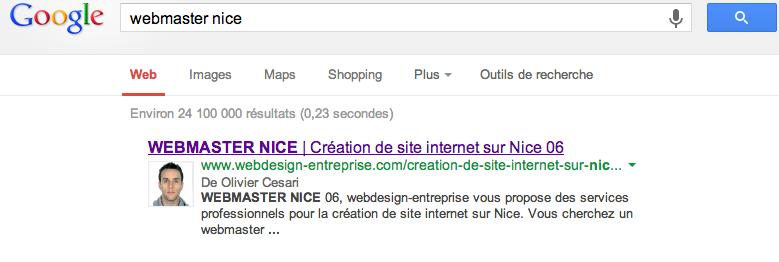 mon site premier sur google